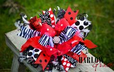 Red and Black Zebra Bling Over the Top Hair Bow with by sanchezc30, $21.99