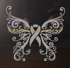 Gray Awareness Ribbon Fancy Butterfly Window Decal by directvinyl