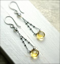 Long Citrine Gemstone Earrings on Oxidized Sterling by PoppyLayne