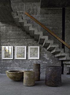 Ernst Gamperl - Wood in Progress, Atelierhaus Rosa Interior Stairs, Interior Architecture, Interior And Exterior, Interior Design, Wabi Sabi, Casa Loft, Concrete Stairs, Concrete Building, Concrete Interiors