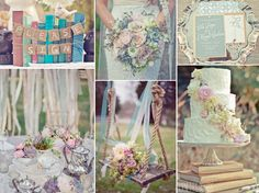 Vintage book themed wedding in a pastel wedding palette-As a bookworm this theme appeals to me (but not the colors)