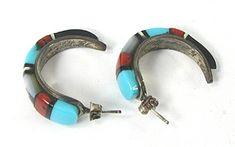 Arlene Mahooty Zuni Inlay Half Loop Post earrings E549 Vintage Earrings, Vintage Jewelry, Matrix Color, Native American Earrings, American Indian Jewelry, Coral Jewelry, Shades Of Red, Native American Indians, Vintage Shops