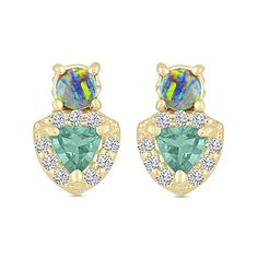 EDEN PRESLEY - Apatite and Boulder Stud Earring - Make a bold statement with the Apatite and Boulder Stud Earring. Shimmery opals set in 14K yellow gold sit atop diamond-flanked apatite in this American made stunner. Sold as a single, this sparkly stud by Eden Presley stands out whether paired with understated studs or other bright baubles.