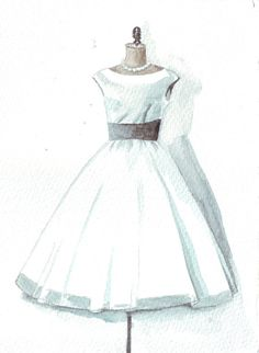 Original watercolor painting wedding dress art mother by HelgaMcL http://etsy.me/Zh3a23 $20.00