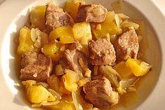 Kreolisches Kalbfleisch mit Ananas, Zwiebeln, Knoblauch und Ingwer
