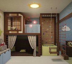 Boys bedrooms furniture can also be fun! Discover more ideas and inspirations with Circu Magical furniture. Cool Kids Bedrooms, Awesome Bedrooms, Cool Rooms For Kids, Play Room For Kids, Kid Bedrooms, Indoor Playroom, Indoor Playhouse, Kids Basement, Kids Room Design