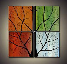 36 x 36 Modern Abstract  Landscape Curly Tree by ModernArtbyAda, $200.00