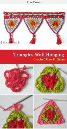 crochet diy This Triangles Wall Hanging Crochet Free Pattern is a decorative and festive wall hanging that's perfect for parties and gatherings. Make one now with the free pattern provided Crochet Bunting Pattern, Crochet Garland, Crochet Curtains, Granny Square Crochet Pattern, Crochet Squares, Crochet Patterns, Macrame Patterns, Knitting Patterns, Crochet Borders