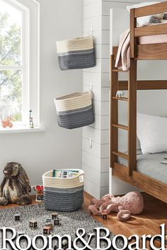Room & Board - Kori Storage Baskets with Handles - Modern Baskets & Bins - Modern Home Decor Modern Baskets, Modern Kids Furniture, Kids Decor, Home Decor, Kid Beds, Bunk Beds For Boys Room, Kids Bedroom Boys, Modern Kids Bedroom, Modern Playroom