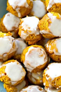 These pillow-soft pumpkin spice donut holes are covered in tons of vanilla…