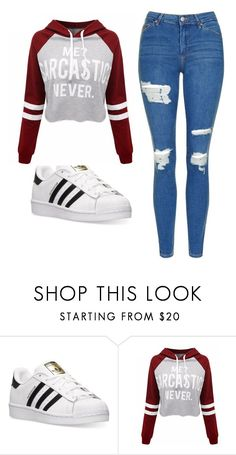 """Untitled #505"" by cuteskyiscute on Polyvore featuring adidas, WithChic and Topshop"