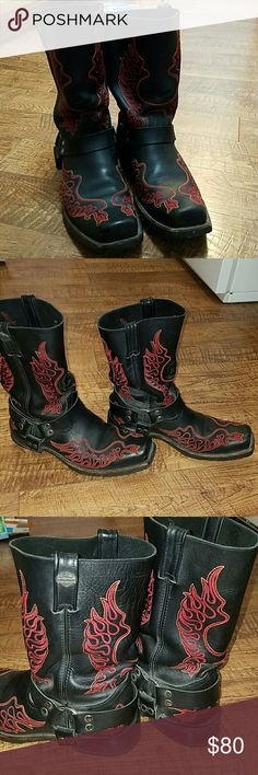 """Harley Davidson willie G Boot These willie G  boots are in very good used condition,  lots of wear left in them! They are a mens size 13 med. Black leather upper, rubber outsole, 11""""shaft, 1.5"""" heel, suitable for riding. They are red embroidered with orange trim, willie is on front middle.  No trades. Harley-Davidson Shoes Boots"""