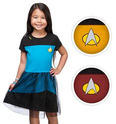 For any little girl who dreams of flying aboard the Enterprise as a member of Starfleet, we've made it so with this glitter tulle decorated uniform. Available in sizes 2 - 7, in Sciences Blue, Operations Gold, or Command Red.