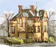 A gallery of sketches, cartoons, drawings and paintings by digital artist and illustrator Artmagenta. Interesting Drawings, Old City, Sketches, Gallery, Illustration, Artist, House, Painting, Cartoons