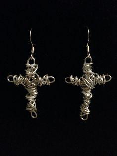 Silver Wire Wrapped Cross Earrings on Etsy, $18.00