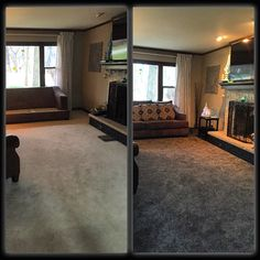 Before  White Carpet After  Dark Flecked, Kid/pet Friendly Plush Carpet!  Grey Carpet Living RoomBedroom ...