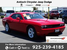 2012 *Dodge*  *Challenger* *BASE* Call for Price  miles 925-239-4185 Transmission: Automatic  #Dodge #Challenger #used #cars #AntiochChryslerJeepDodgeRam #Antioch #CA #tapcars