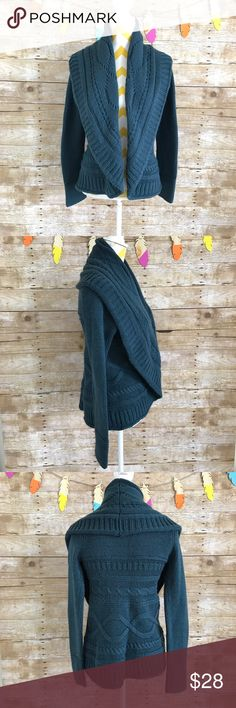 The limited dark teal knitted drape cardigan Euc! Very beautiful and chunky! And So cozy! 100% acrylic The Limited Sweaters Cardigans