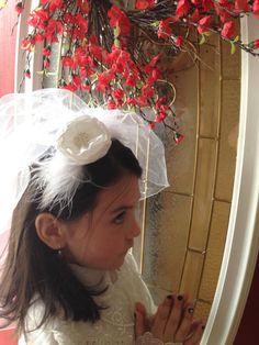 First Communion veil headband  pearls silk flower by 3BusyBirds, $18.00