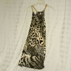 Top Cheetah Razor back tank Blue Sketch   Tops Tank Tops