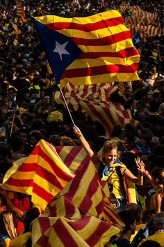 Demonstrators march during The National Day of Catalonia on September 11, 2013 in Barcelona, Catalonia. Thousands of Catalans celebrating the 'Diada Nacional' are holding demonstrations to demand the right to hold a self-determination referendum. 11 Sep 13 Photo David Ramos