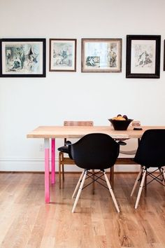 DIY pink dining table legs