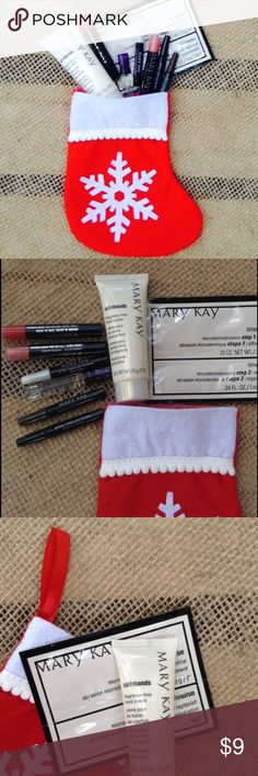 Mary Kay Christmas Stocking Gift Red Christmas Snowflake Stocking stuffed with Mary Kay travel/deluxe samples as pictured. ✅All items are new / not expired ❌No Holds or trades. Price firm unless bundled. ❗️2 Available. I'm happy to create a custom listing if you are interested in purchasing more than 1❗️ Mary Kay Makeup