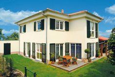 New Hausansicht Kundenhaus Familie B hm Massivhaus mediterran mit Walmdach und Erker Freundlich hell mit h chstem Wohnkomfort was w nscht man sich mehr