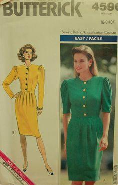 "1990's Dress Buttoned Bodice Butterick Pattern 4590   Uncut   Size 6-8-10  Bust 30.5 to 32.5"""