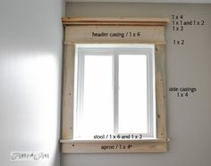 window moulding parts / Make a farmhouse window - add window trim to beef up a plain window with no miter cuts in sight! via http://www.funk...