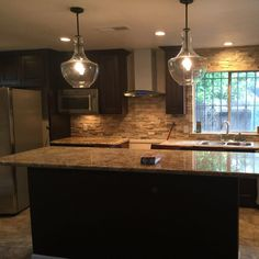 This is almost exactly what your pendants will look like.just remember your kitchen is way prettier! Mobile Home, Bulb, Ceiling Lights, Mirror, Lighting, Glass, Kitchen, Cabinets, House