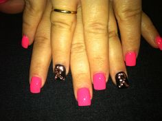 Breast cancer awareness nail art.. check out www.ThePolishObsessed.com for more nail art ideas.