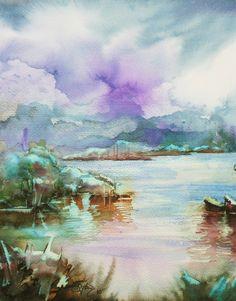 "Saatchi Online Artist: Aydin Baykara; Watercolor, Painting ""Landscape 2"""