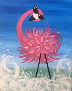 Cool Flamingo with sunglasses Paint Nite Events near Highland Park NJ 08904 United States Easy Canvas Painting, Painting For Kids, Diy Painting, Painting & Drawing, Kids Canvas Art, Family Painting, Turtle Painting, Canvas Paintings, Flamingo Painting