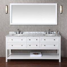 Stufurhome Marla 72 in. Double Sink Bathroom Vanity with Mirror - HD-6868-72-CR