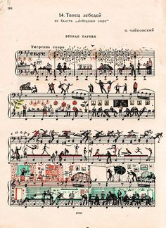 This sheet music has been decorated with all kinds of little scenes, tiny drawings of various settings, figures,  activities that incorporate the notes in clever ways.