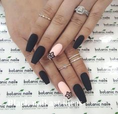 The latest and most creative designs for black nails are perfect for fall and winter . - The latest and most creative designs for black nails are perfect for fall and winter, # o - Black Nail Designs, Winter Nail Designs, Acrylic Nail Designs, Nail Art Designs, Nails Design, Black Coffin Nails, Matte Black Nails, Brown Nails, Black Acrylic Nails