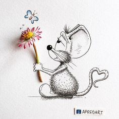 mouse with a flower, cute illustration.