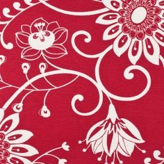 This is a cotton/poly blend print in primary red with an off-white floral pattern. Medium weight, great for heavier drapery or Upholstery.