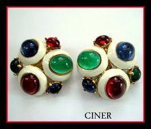 Handsome Ciner Signed Enamel & Jewel Tone Cabochon Earrings