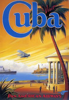 Pacifica Island Art Visit Cuba - Pan American Airways (PAA) - Havana Bay - Morro Cabana - Vintage Style Airline Travel Poster by Kerne Erickson - Master Art Print - 13 x Retro Poster, Poster Print, Poster S, Vintage Cuba, Photo Vintage, Vintage Style, Retro Airline, Airline Travel, Cuba Travel