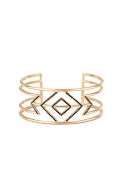 Geometric black pave contrasts with gold to form this statement bracelet cuff. Shop statement cuff bracelets at Stella & Dot.
