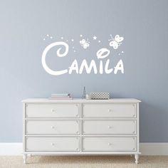 Vinilos decorativos con nombre Camila con estrellitas y mariposas, para decoración infantil