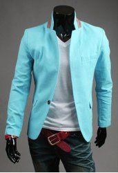 $17.11 Fashion Multi-Pocket Color Block Splicing Stand Collar Long Sleeve Slimming Polyester Blazer For Men