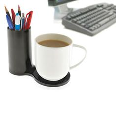 Jot is a colorful desk accessory which allows you to bring together two of your desk's most essential items; your mug & your pens! It has the ability to hold a much needed caffeine hit right next to your favorite pens so you're ready for the working day. Your desk will certainly be the envy of others with this modern & minimalist desk piece. $16.95