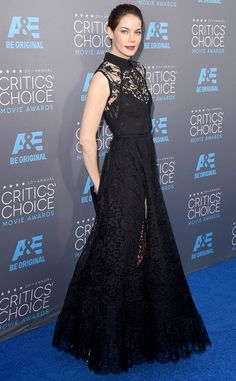 The True Detective star has solved the secret to red-carpet style: black lace is always a good idea.