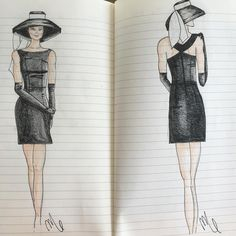 """The Audrey"" one of my fashion sketches. #fashionsketch #audreyhepburn #cocktaildress #formal #handmade"