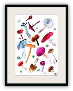 Mushrooms fungi fungus watercolor painting by Sweepinggirl on Etsy