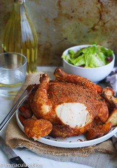 Cajun Whole Roast chicken- Baked Chicken on  a bed of potatoes and vegetables- Crispy , Juicy and Super Tasty with minimal prep. Roasting a whole chicken is always a great idea wether you are cooking for a family of two or more. It requires little effort with great results. The finished product is a moist, …
