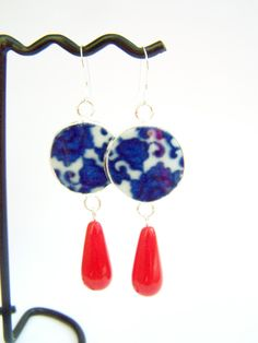 Blue and White China Earrings, Pottery Shard Dangles by polishedtwo, $16.00